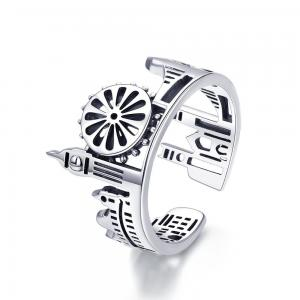 China Jewelry Supplier Retro 925 Sterling Silver Castle Open Adjustable Vintage Ring With Unique Style For Women Girls on sale