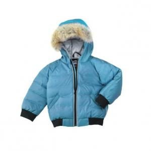 China Blue Baby fashion Worsted toddler boys warm winter coat with removable fur ruff on sale