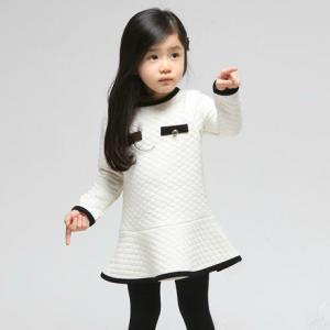 China 100% Cotton Girls Dress Long Sleeve , White Lattice Cotton Childrens Clothes on sale