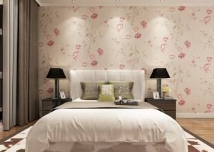 China Eco - friendly Light Pink Country Floral Wallpaper , Bedding Room Vinyl Wall Coverings on sale
