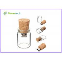China Bottle Glass Wooden USB Flash Drive 2.0 For Wedding Giveaways 4GB 8GB on sale