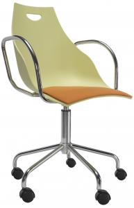 China Yellow Plastic Swivel Office Chair With Armrest And Stainless Steel Roll on sale