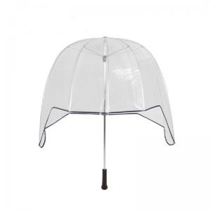 China 30 Inch Helmet Clear Dome See Through Umbrella Straight Wooden Handle on sale