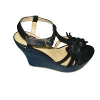 Size 36-41 Fashion Comfortable PU Material Black Ladies Wedge Sandals with 11.8cm Heels