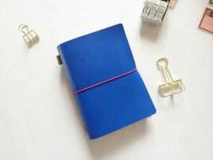 China Cobalt Blue Saffiano Leather Passport Size Journal on sale