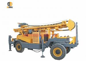 China DTH Water Well Drilling Rig Four Wheel Trailer Mounted 93KW Engine Power on sale