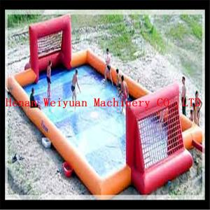 China CE Fun new air tight water football game inflatable soap soccer field on sale