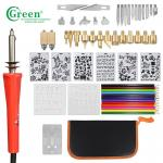Green PS3301 33 Wood Burning Kit Tips 2 Stencils 12 Colored Pencils