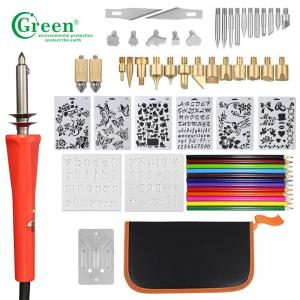 China Green PS3301 33 Wood Burning Kit Tips 2 Stencils 12 Colored Pencils supplier