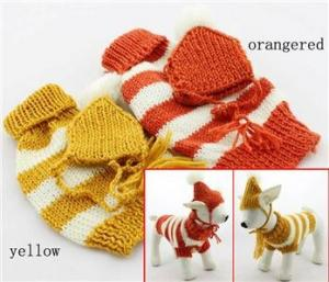 China Cute doggie apparel Stripe dog sweater knitting pattern for small dog on sale