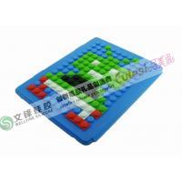 China Blue Round Dot Creative Lego Blocks Robot Puzzle iPad 3 Silicone Cases on sale