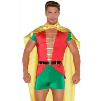 Sexy Costumes Wholesale Spandex Satin  Red Green Yellow Boy Sidekick Costume with S to XL