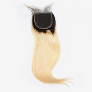 4x4 Brazilian Hair Lace Closure Straight 1b/613 Color 9a Grade 100% Pure Human Hair