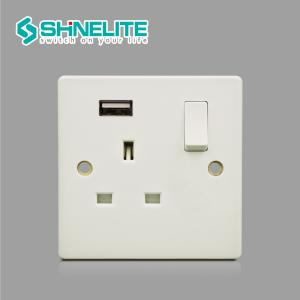 China BS Standard Elite Range white Bakelite 13A USB electric socket with CE on sale
