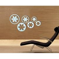 wholesale flower shaped PS wall decal1MM thickness 3D mirror stickers kids bedroom decor