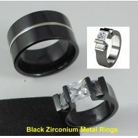 Tagor Jewelry Made Customize Shiny Brushed Wedding Engagement Black Zirconium Rings