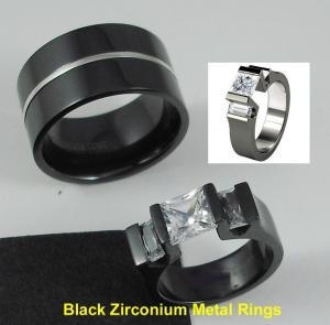 China Tagor Jewelry Made Customize Shiny Brushed Wedding Engagement Black Zirconium Rings on sale