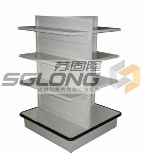 China Four Way Supermarket Display Shelves Convenience Store Racks Q195 Material on sale