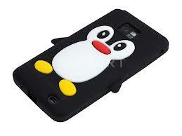 China Customized cute black Penguin cell phone silicon covers for Samsung i9100 Galaxy SII  on sale