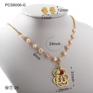 China Pearl Gold Or Silver Hollow Flover Stainless Steel Jewelry Set Classic Style on sale