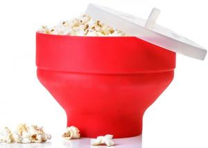 China Red Silicone Kitchen Utensils Collapsible Microwave Popcorn Popper Bowl With Lid on sale
