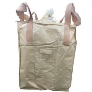 China Flat Bottom FIBC Bulk Bags / PP Tubular Big Bag With Stevedore Loops on sale
