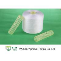 100% Polyester Raw White Yarn for Bedsheets Sewing , Paper Cone / Plastic Tube