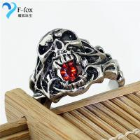 Titanium steel red diamond Rock & Punk Design male Rings