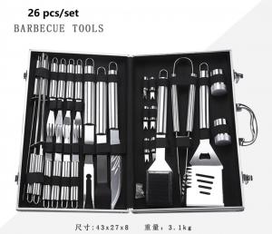China Outdoor/Domestic Barbecue Toolbox Set, Stainless Steel Grill Set, Fork, Spatula, Clamp, Brush on sale