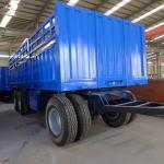 20ft Size Flat Bed Semi Trailer 12 Wheels 3 Axle Cargo Truck Trailer