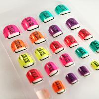 Fashionable Shoes Pattern Colorful Nail Art Lovely Fake Toe Nails Neon Color