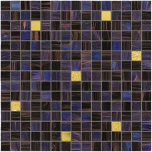 China Dark blue and purple with real gold waving tile 20mm glass mosaic mix patter on sale