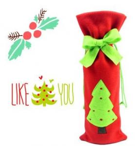 China Christmas Decoratived Red Fleece Wine Bottle Cover on sale