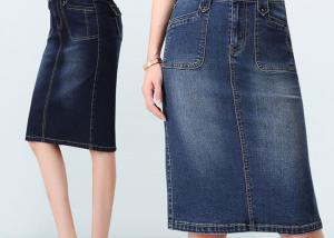 China Fashion style regular custom size gored Jeans Elastic Slim Women denim skirt on sale