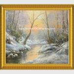 Framed Custom Winter Landscape Painting With Snow  Neo - Classic Style