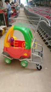 China Cartoon Kids Supermarket Shopping Trolley With Toy Car And Baby Seat on sale