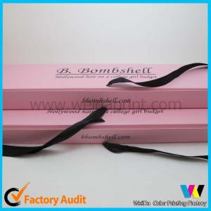 China Pink Hair Packaging Boxes , Paper Wig Box with Black Ribbon on sale