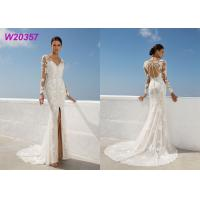Beach Lace A Line Wedding Dress Appliques Long Sleeves Slit Side Lvory