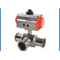 3 Way Sanitary Ball Valve , Pneumatic Actuated Ball Valve Welded Connection Type