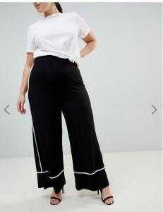 China OEM black plus size wide leg pants,women's fashion pants with white piping on sale