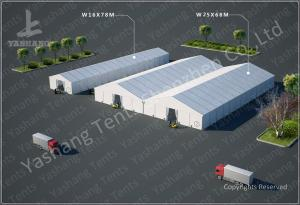 China Emergency Industrial Marquee Outdoor Warehouse Tents Complex With Fabric Rain Gutter on sale