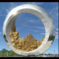 Mirror polish Large metal round ring stainless steel sculpture project,Stainless steel sculpture supplier