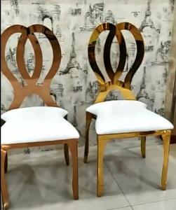 Quality Gold Stackable Event Wedding Dining Chairs Stainless Steel Metal Frame Accent Chair for sale