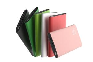 China Portable 5000mah Ultrathin Cell Phone Power Bank Aluminum Frame Dual Usb Output on sale