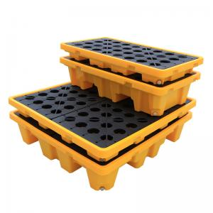 China Wholesale Customizable Containment Liquid Detachable 1300*1300*300 4 drum Spill Pallet For Moving on sale