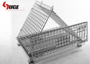 China Metal Surface Galvanized Fruit Storage Basket / 5.8mm Diameter Cargo Storage Grid Metal Cage Trolley on sale