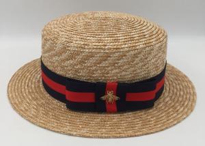 Quality Men Women Straw Boater Hat Fedora Panama Flat Top Ribbon Summer  Wheat Straw Hard for ... 497c71a454f
