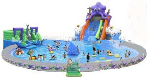 Commercial Inflatable Water Park / Pool With Slide for