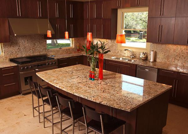 Luxury Glossy Custom Granite Countertops Table / Stone Kitchen Worktops  Images