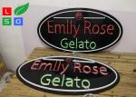 Exterior Customized LED Neon Signs 3D Letters With Black Board For Ice Cream Shop